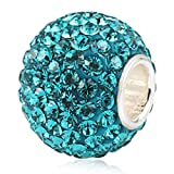 Jan-Dec Birthstone Charm Beads Silver 925 Core Austrian Crystal Round Ball Charms fit All Charm Bracelets Women Girls Gifts Blue Zircon Color