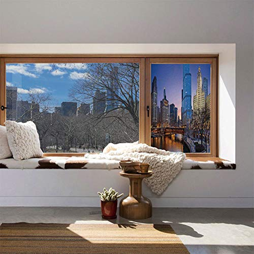 ALUON Vinyl Window Film,Landscape,Work Well in The Bathroom,USA Chicago Cityscape with Rivers -