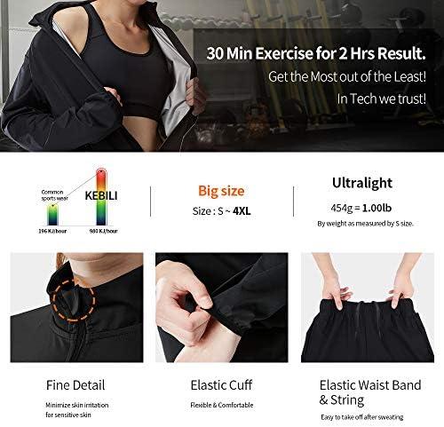KEBILI Full Zip Up Sauna Jacket Pants for Women Men Weight Loss 4