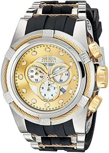 Invicta Men's 0828 Bolt Zeus Reserve Chronograph Mother-Of-Pearl Dial Black Polyurethane Watch