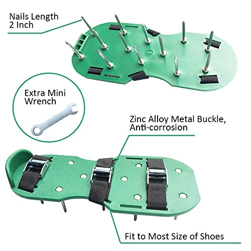 Luerme Lawn Aerator Shoes Zinc Alloy Buckles and Adjustable Straps Heavy Duty Spiked Sandals Gardening Shoes for Aerating Your Lawn or Yard One Size Fits All (6 Straps, Black) by Luerme (Image #5)