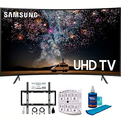 "Samsung UN55RU7300 55"" RU7300 HDR 4K UHD Smart Curved LED TV (2019 Model) with Wall Mount Bundle Includes Screen Cleaner + 6-Outlet Surge Adapter + Flat Wall Mount Kit Ultimate Bundle for 45-90 TVs"