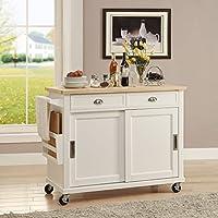 Linon K464906WHTABU Kitchen Cart, White