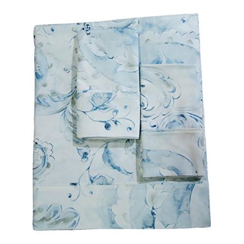 Wholesale La Rochelle Traditional Autumn Flower Sheet Set, Queen, White/Blue
