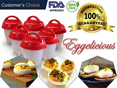 Eggelicious - The Original No Shell Egg Cooker and Boiler, Silicone Egg Cooking Molds for Hard and Soft Boiled Eggs without Shell. FDA Approved Food Grade Silicone, BPA Free (6 Piece Combo Pack - Red) (Dish Shell Candy)