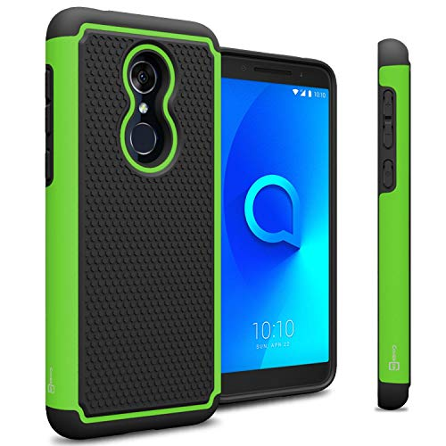 (TMobile REVVL 2 Case - CoverON HexaGuard Series - Heavy Duty Protective Hybrid Phone Case with Shockproof Dual Layer Protection - Green on Black)