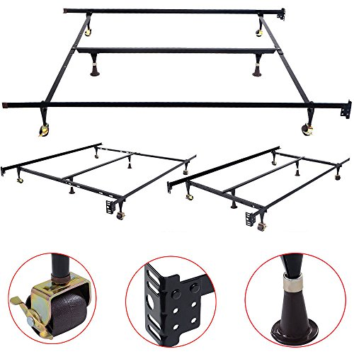 Leadzm Metal Bed Frame with Locking Wheels Center Support,Adjustable Size for Queen King,Mattress Foundation Folding Platform (Frame Iron Folding)