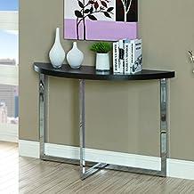 Monarch Specialties Metal Sofa Console Table, Cappuccino/Chrome