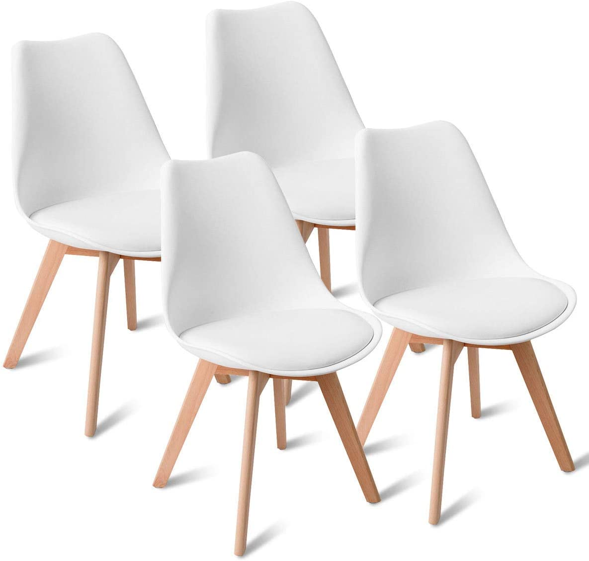 Giantex Mid Century Modern DSW Dining Chairs Upholstered Side Chair Wood Leg and Soft Padded White, Set of 4
