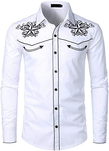 Camisas de Manga Larga for Hombre Funky Bordado Impreso Top Estilo Vaquero de los Hombres Ropa de Solapa Camisa de botón (Color : White, Size : L): Amazon.es: Ropa y accesorios