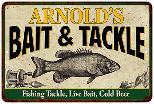 Chico Creek Signs Arnold's Bait & Tackle Personalized Metal Sig12 x 18 Matte Finish Metal 112180016227