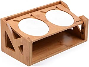 Petsoigné Cat Bowls Pet Dining Table with Raised Slope Wooden Stand Elevated Pet Bowls with Oblique Stand for Cats, Dogs, Kitten and Puppy