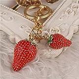 1 Set Alloy Sweet Fruit Strawberry Keychains Pendant Women Love Heart Wrist Wristlet Key Fob Optimum Popular Pocket Teenagers Bag Car Keyring