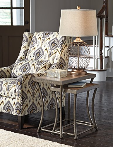 Nartina Light Brown Wood and Metal 2PC Nesting End Tables