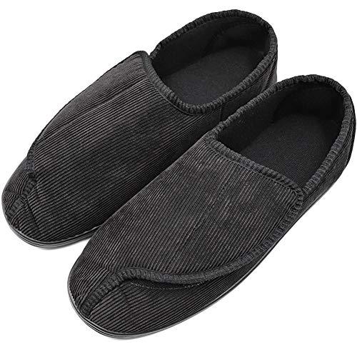 (Men's Diabetic Orthopedic Shoes Memory Foam Cozy Warm Slippers Coral Fleece Adjustable House Footwear Wide Fit Cushioned for Swollen Edema (8, Comfy - Black))