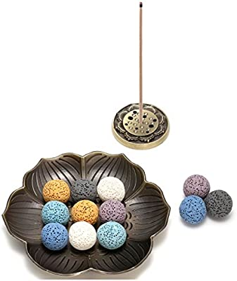 Aromatherapy Diffuser Decoration Set AJ101010100655 Jovivi 14 pcs Lava Stone Beads for Essential Oils W//Lotus Brass Incense Burner Stick Incense Holder Lava Stone Ball Beads