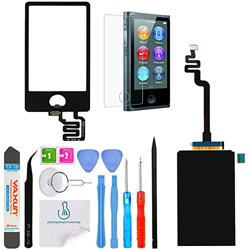 OmniRepairs LCD Display with Glass Touch Screen Digitizer Replacement For iPod Nano 7th Gen (Generation) with Screen Protector, Adhesive and Repair Toolkit (Black) - Ipod Nano Lcd Screen Replacement