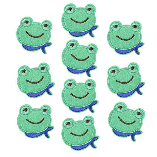 (NUOMI 20Pcs Sew/Iron On DIY Clothing Decorative Patches Small Clothes Stickers, Craft Applique Embroidery for Jeans, Jackets, Backpacks, Hats, Shoes, Cute Frog Pattern )