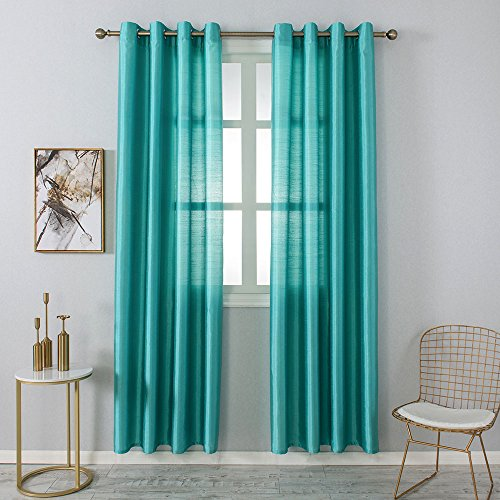 Aqua Curtain - Opal Selection Semi-sanity Gauzy Curtains Natural Light Flow Faux Silk Durable Material Window Curtain Lined Drapes Treatment 1 Panel (54 x84, Aqua Blue)