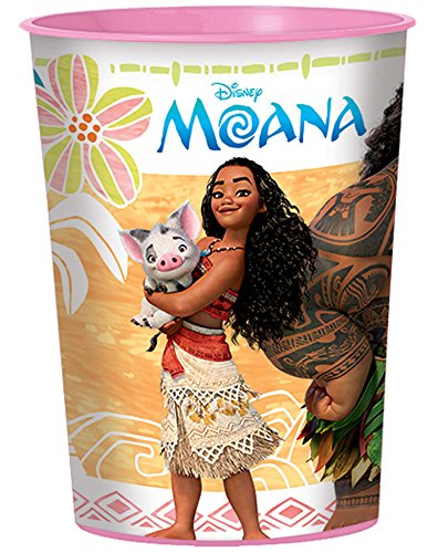 Amscan Moana 16oz Plastic Favor Cup (Each)  Pack of 1 ,Pink