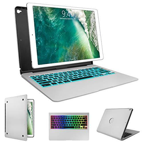SENGBIRCH Keyboard Case for iPad Pro 12.9-2017(2nd Gen), 2015(1st Gen) 12.9, 7 Colors Backlit Wireless Keyboard Auto Wake/Sleep, Back Hard Keyboard Cover, Ultra Slim (Silver, 12.9 inch)