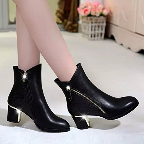 de Botas Zapatos Botas de con de Botas Vacías Moda Británica EUR35 Bruto Botas Mujer en rojo PfS4Pqw