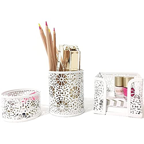 Gentil Blu Monaco White Desk Organizer For Women   3 Piece Desk Accessories Set    Paper Clip Accessory Tray, Sticky Note Holder, Pen Cup   White Floral  Sunflower ...