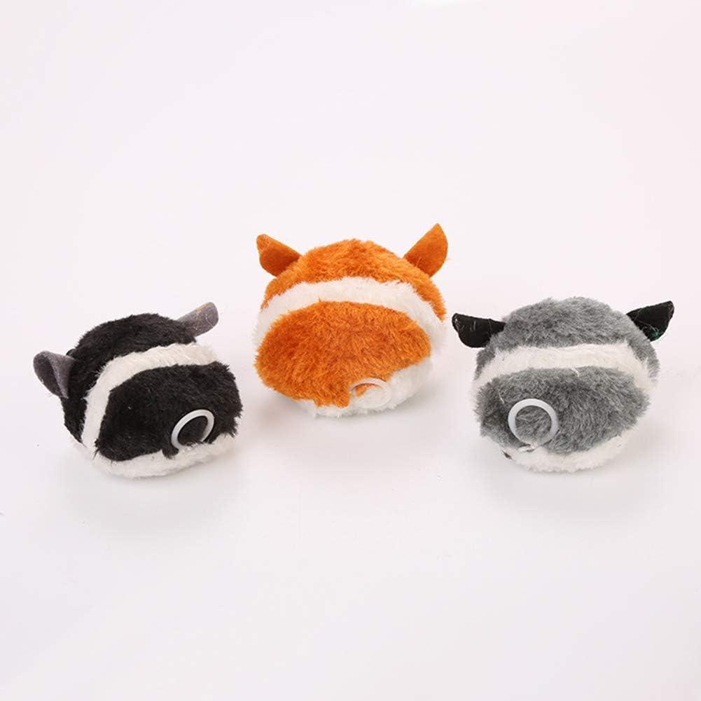 Sukisuki Lovely Plush Trembling Mouse Pull Rope Clockwork Vibrating Interactive Cat Toy Grey 7cm