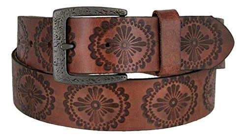 Jessie's Vintage Western Casual Full Grain Leather Jean Belt (Brown, 34)