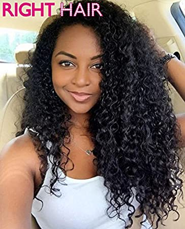 Amazon.com   Right Hair Indian Remy Human Hair Lace Front Wigs Deep Curly  For Black Women ( 4 dark brown 16inch)   Beauty 30c45f143d