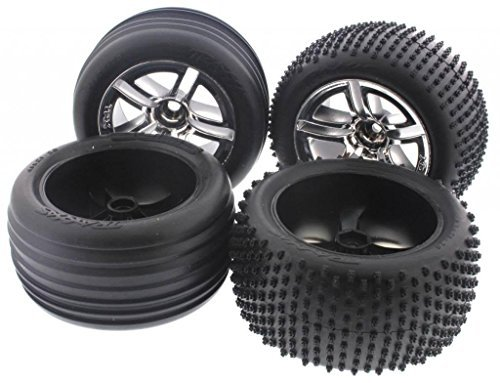 Nitro Rustler Accessories - Traxxas Nitro Rustler 2.5 FRONT & REAR ALIAS TIRES & SPOKE CHROME WHEELS 12m by Traxxas