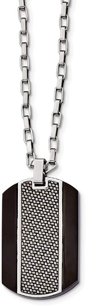 Stainless Steel Brushed and Polished Black IP Grey Carbonfiber Inlay Necklace 24 Inch Jewelry Gifts for Women