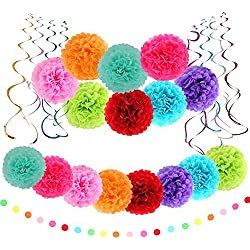 Multicolor Tissue Paper Pom Poms Flower Plastic Swirl Polka Dot Paper Garland Decorations(Total 25 Pcs)