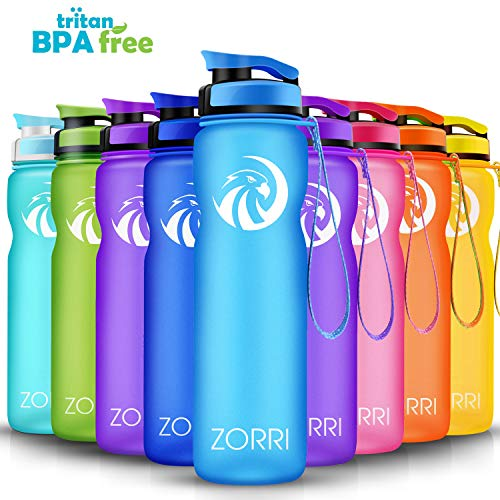 ZORRI Best Sports Water Bottle- 1 L &800ml&600ml- Leak Proof BPA Free with Flip Top Lid&Filter&1-Click Open&Clean Brush&Time Making, Eco-Friendly Handy Drink Bottles for Outdoors/Running/Camping/Gym