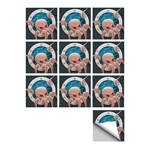(C COABALLA Octopus Decor Stylish Ceramic Tile Stickers 10 Pieces,Kraken Octopus with Tentacles in Ship Porthole Cartoon Style Illustration Retro Art for Kitchen Living Room,5