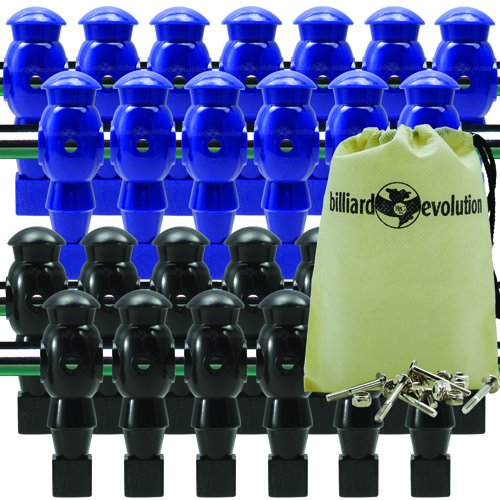26 Blue and Black Robotic Foosball Men with Free Screws and Nuts and Billiard Evolution Drawstring Bag