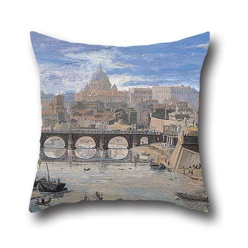 Throw Pillow Covers 18 X 18 Inch / 45 By 45 Cm(2 Sides) Nice Choice For Seat,bedroom,study Room,club,kids,gril Friend Oil Painting Gaspar Van Wittel - View Of Tor Di Nona