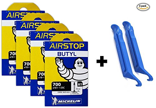 michelin-a1-airstop-700x18-25c-road-bike-tube-bundle-52mm-smooth-presta-4-pack-w-2-park-tire-levers