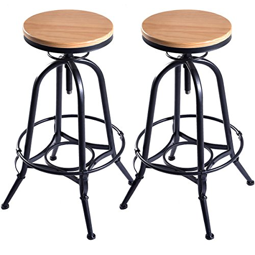 COSTWAY Vintage Bar Stool Metal Frame Wood Top Adjustable Height Swivel Industrial (2Bar Stools) ()