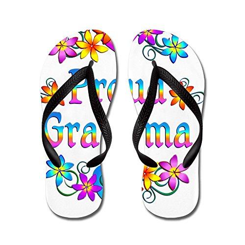 Cafepress Fier Grand-mère Fleurs Flip Flops - Tongs, Sandales String Drôle, Sandales De Plage Noir