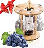Luxury Wine Glass Holder, 100% Natural Bamboo Wine Bottle Holder, 100% Handmade Countertop Wine Rack...