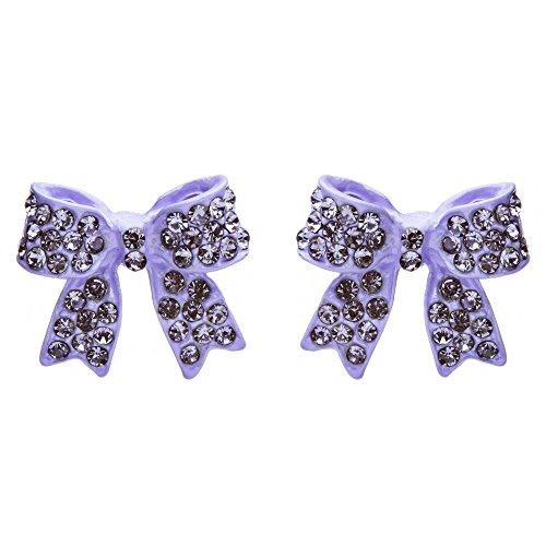 Fashion Crystal Pave Bow Ribbon Stud Earrings Purple