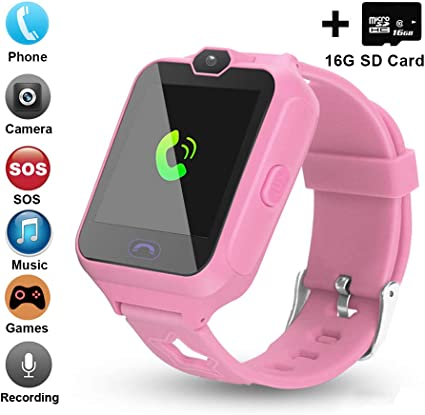[Updated 2019 Version] Smart Watch for Kids Include [16GB Micro SD Card] Watch Phone with [Camera] [Games] [Alarm] [SOS Touch Screen] Nice Gift for ...