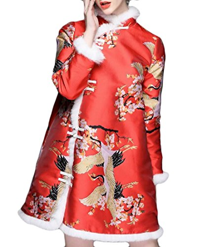 Comfy A Floral Stand Red Printing Cheongsam Collar Womens Line Stitching qtr1tO