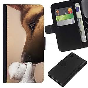 eJoy---La carpeta del tirón la caja de cuero de alta calidad de la PU Caso protector - Sony Xperia Z1 L39 - --Kitten Kiss Love Dog German Shepherd