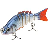"Lixada Esche Artificiali Pesca 85mm 11g 3,3 ""6-Segement Pesca Hard Esca Pesciolino Swimbait Esca 2 Treble VMC Ganci"