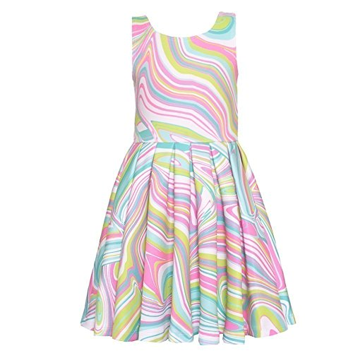 Mack Sundress Kate (Kate Mack Little Girls Multi Color Mix Print Pleated Sleeveless Dress 6X)