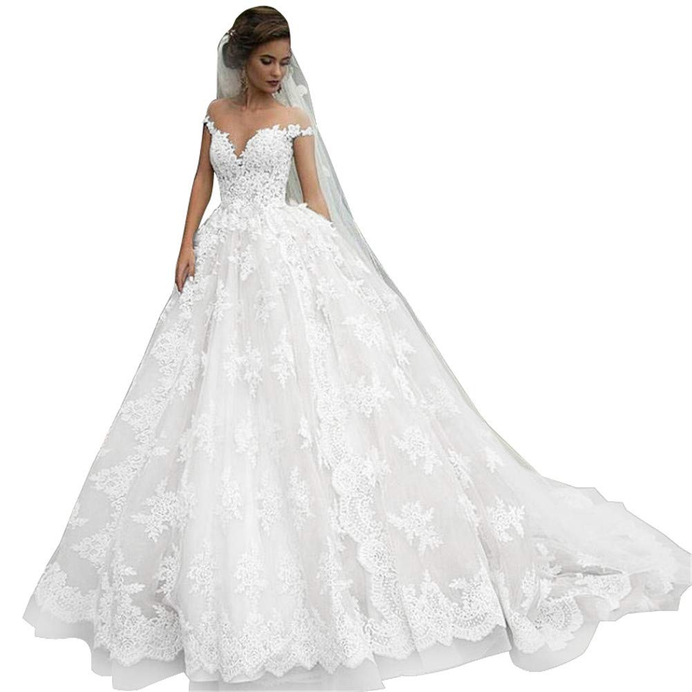 b8a76096b49 Vintage Lace Bridal Gowns Off Shoulder Princess Illusion Jewel Neck Wedding  Dresses for Bride 2019 at Amazon Women s Clothing store