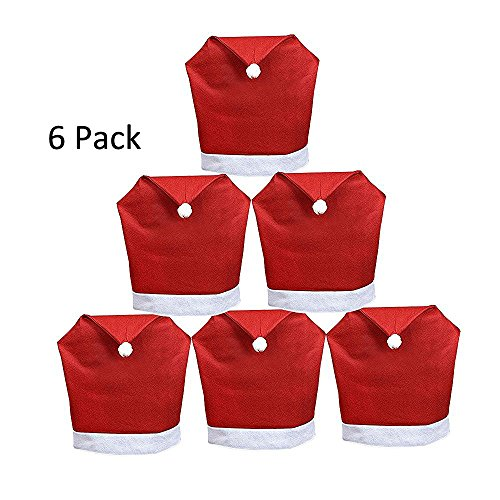 Yunanwa 6 Pack Set Of Santa Claus Red Hat Chair Covers Caps Slipcovers For Christmas Xmas Dinner Table Chairs Decoration (6 (Santa Table Cover)