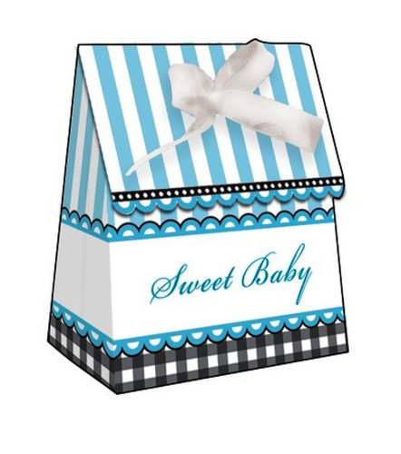 12-Count Party Treat Boxes, Sweet Baby Feet Blue